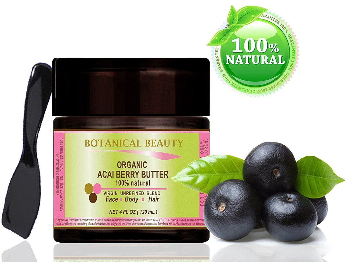 "Organic Acai Berry burro brasiliana 100% naturale/100% pure Botanicals. Virgin/Unrefined Blend. 4 – Flacone da 120 ml. Per pelle, capelli e cura delle unghie. '""From Amazon Rainforest. Number One Superfood per la pelle e capelli. "" By Botanical beauty."