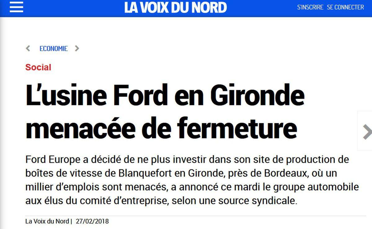 """FORD Blanquefort: Un CE extraordinaire le 7 Juin 2018 pour """"discuter du futur de l'usine"""" ?"""