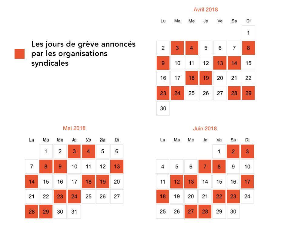 Calendrier des jours de grève