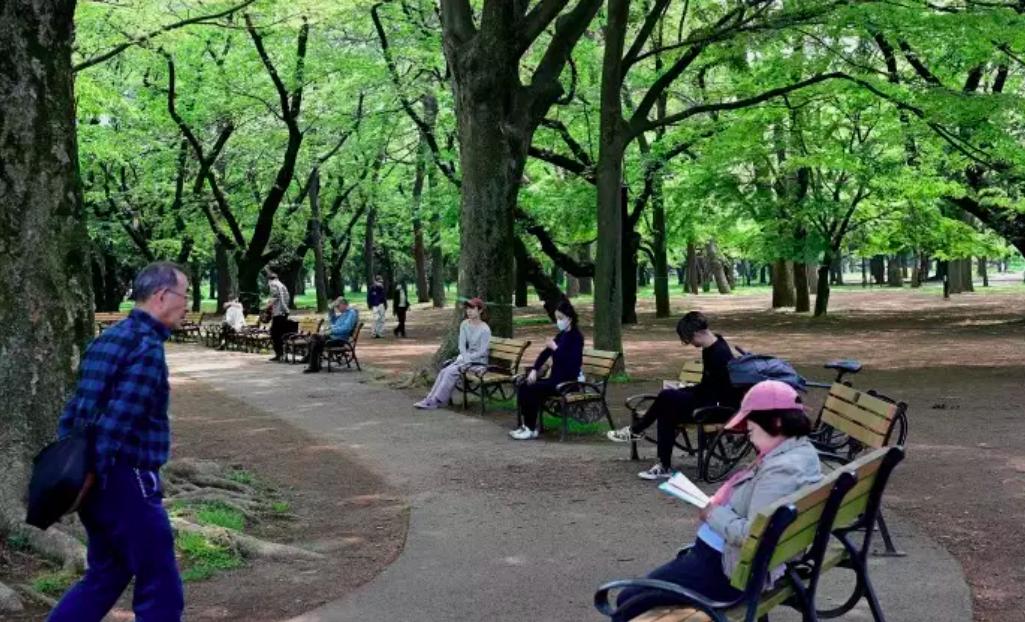 Dans un parc de Tokyo en Golden Week © Behrouz Mehri / AFP