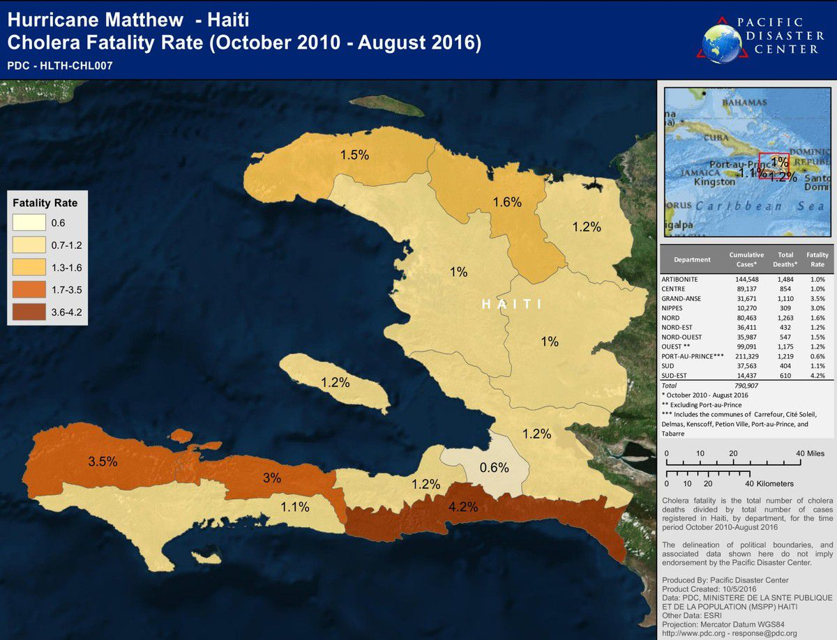 Haiti - Matthew - Choléra - Carte de mortalité - Cholera Fatality rate