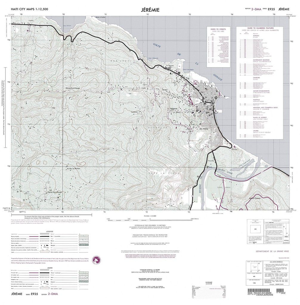 Haïti - Ouragan Matthew - Jérémie - Carte de référence - carte topographique - topo map - NGA - National Geospatial Intelligence Agency