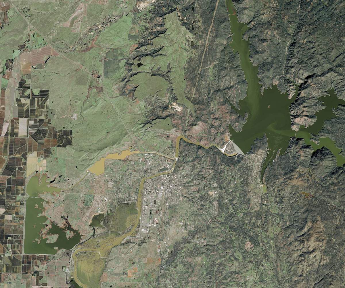 SPOT 7 - Oroville lake - Oroville Dam - Satellite - Sea level - Emergency - Airbus DS - February 2017