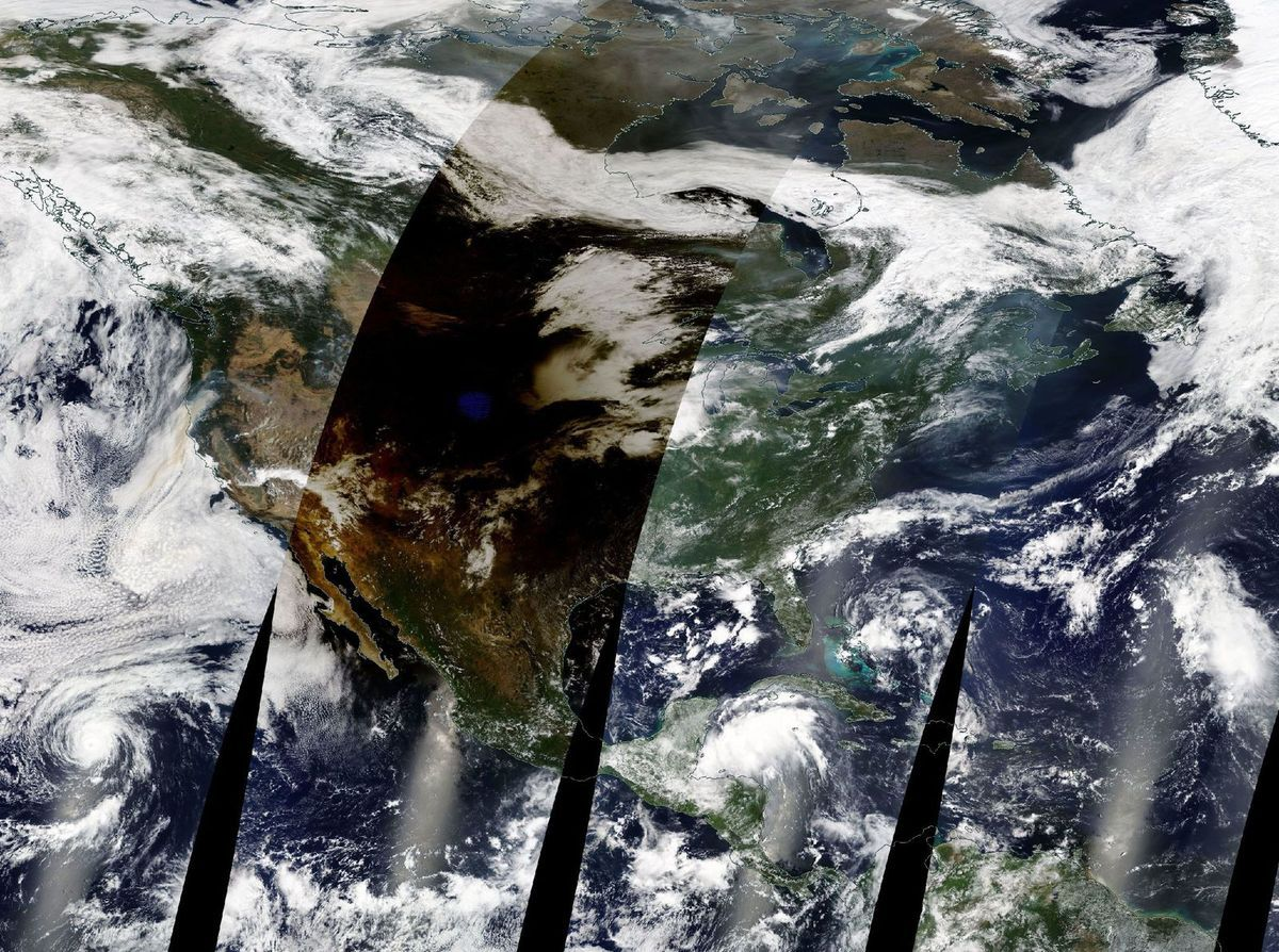 Total solar eclipse - 21 August 2017 - United States - Wyoming - Nebraska - satellite - Terra - MODIS - From space