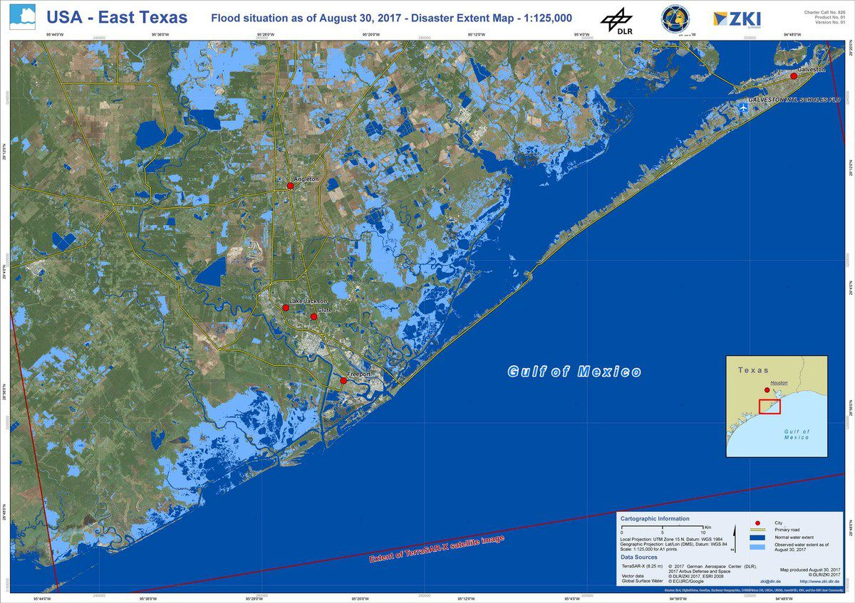 Harvey - Houston - Floods - Inondations - International Charter Space and Major Disasters - USGS - TerraSAR-X - DLR/ZKI - Rapid mapping - Emergency response