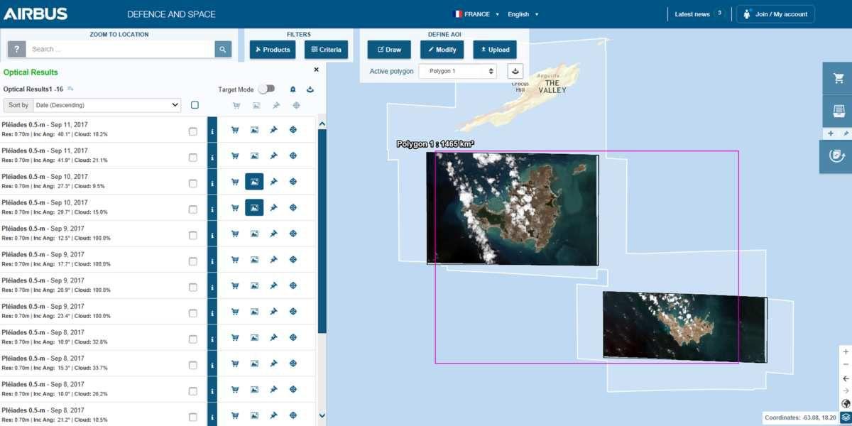 Irma - ouragan - dégâts - dégats - Saint-Barthélemy - Saint-Martin - satellite - Pléiades - VHR - EO - haute résolution - Airbus Defence and Space - CNES - Geostore
