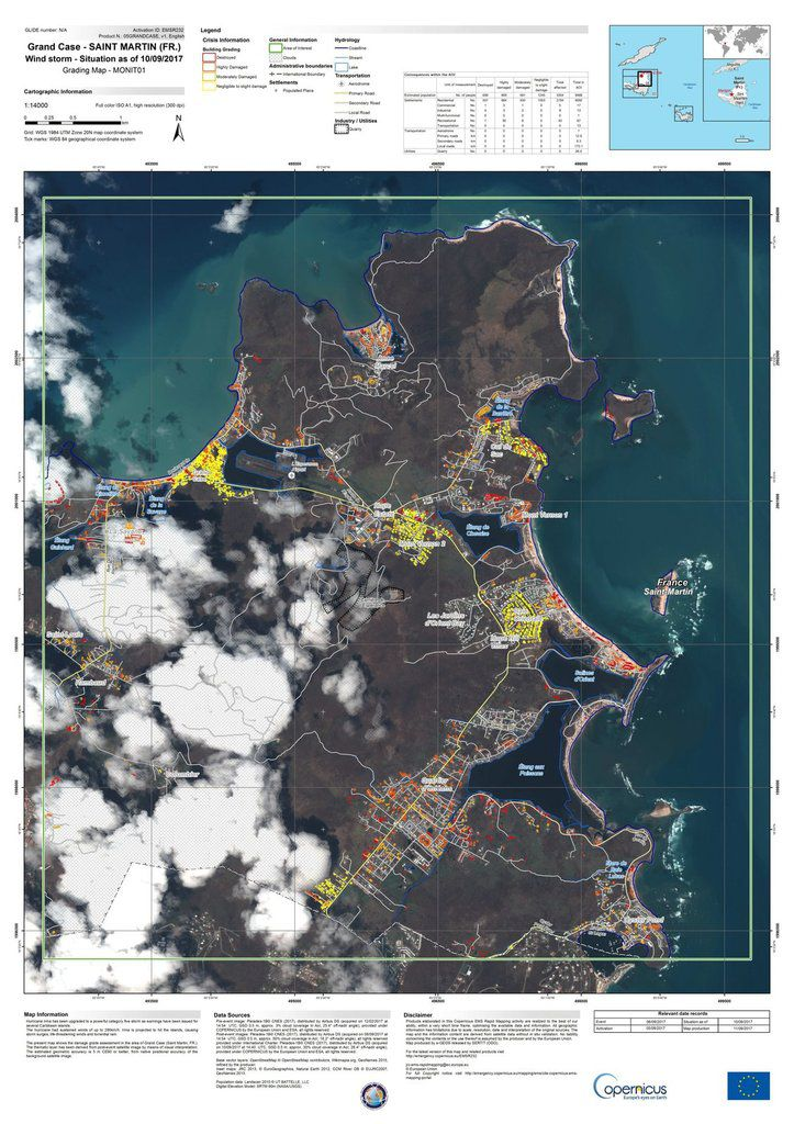 Saint-Matin - Sint-Marteen - Irma - dégâts - Impact - Damage - dommages - Copernicus - Rapid mapping - Emergency mapping - Septembre 2017
