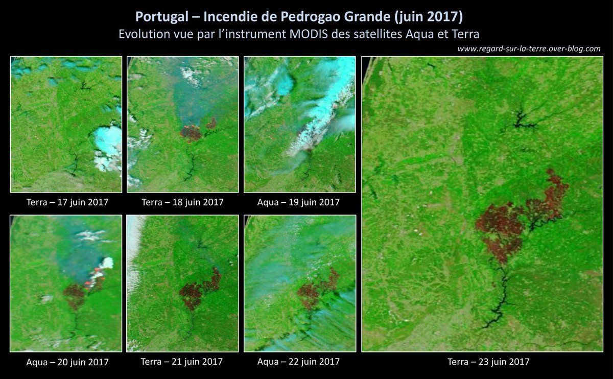 Wild fire - Portugal - June 2017 - Incendies - Juin - Pedrogao Grande - MODIS - Aqua - Terra - NASA - rapid response