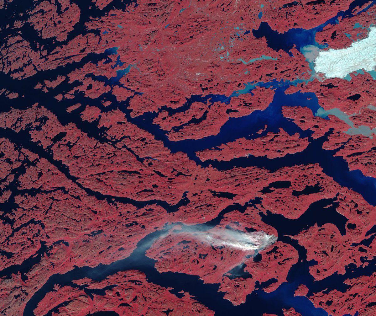 Groënland - Incendie - satellite - Sentinel-2 - Copernicus - Proche infrarouge - glacier - Greenland