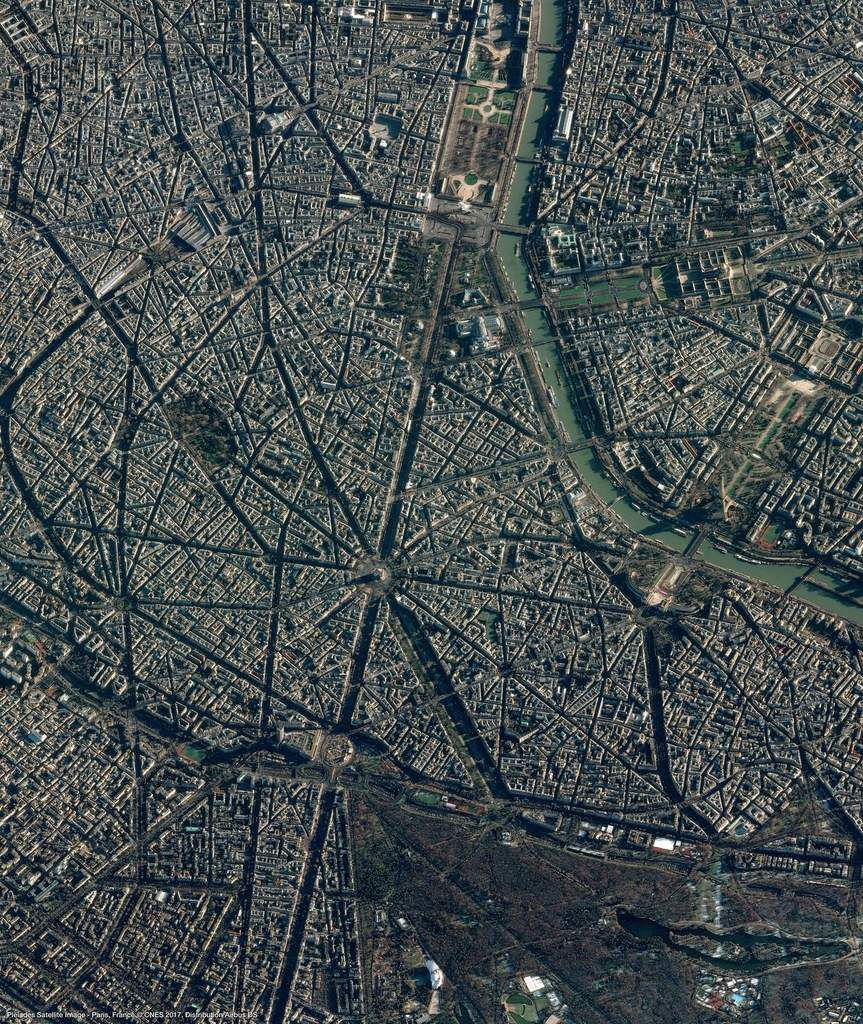 Paris - satellite Pleiades - 9 décembre 2017 - Hommage à Johnny Hallyday - vu du ciel - vue aérienne - Airbus Defence and Space - CNES - Observation de la Terre - Earth observation