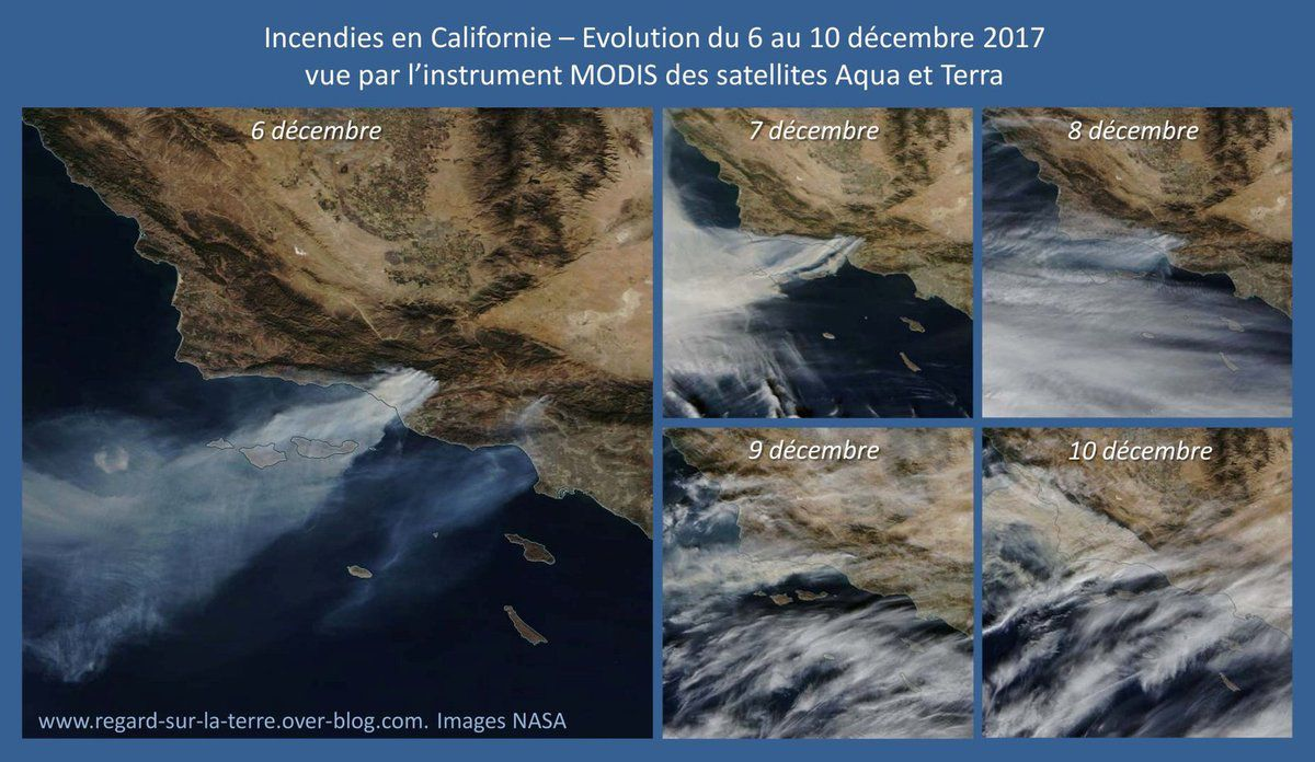 California fires - satellite surveillance - incendies - feux - monitoring - fire evolution - MODIS - Terra - Aqua - NASA GSFC - December 2017 - Natural colors - Smoke plumes seen from space