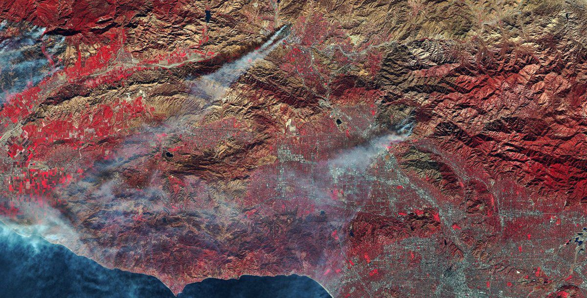 Wild Fires - California - Incendies - Californie - Sentinel-2 - Décembre 2017 - ESA - Copernicus - Commisison européenne - Proche infrarouge - False color infrared - NIR - PIR - satellites - zones brûlées - space