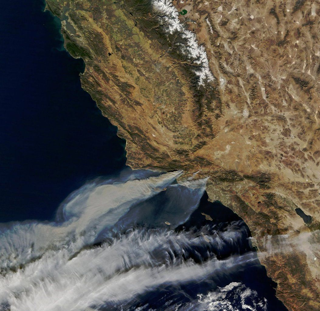 California Fires - Thomas fire - Creek fire - Rye fire - Meyers fire - Little Mountain fire - Paper fire - MODIS - satellite - Terra - Incendies - Californie - Sécheresse - observation de la terre - Feux - NASA