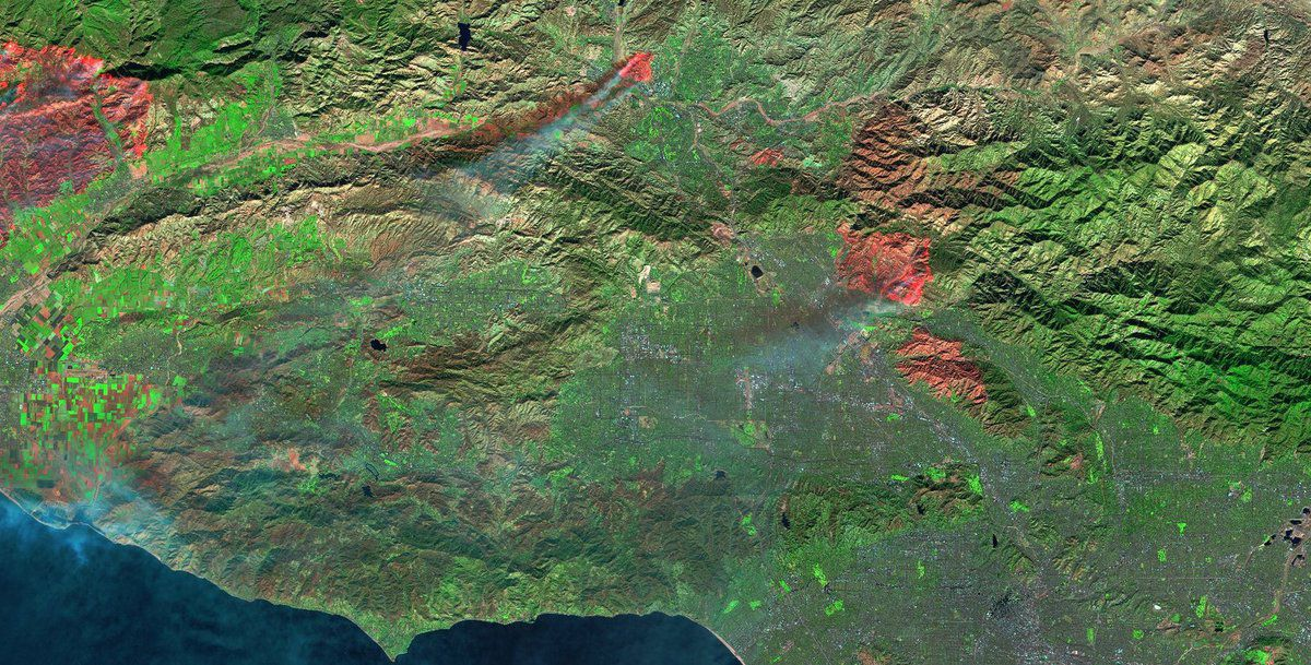 Wild Fires - California - Incendies - Californie - Sentinel-2 - Décembre 2017 - ESA - Copernicus - Commisison européenne - SWIR - Earth observation - spectral bands - satellites - zones brûlées - space
