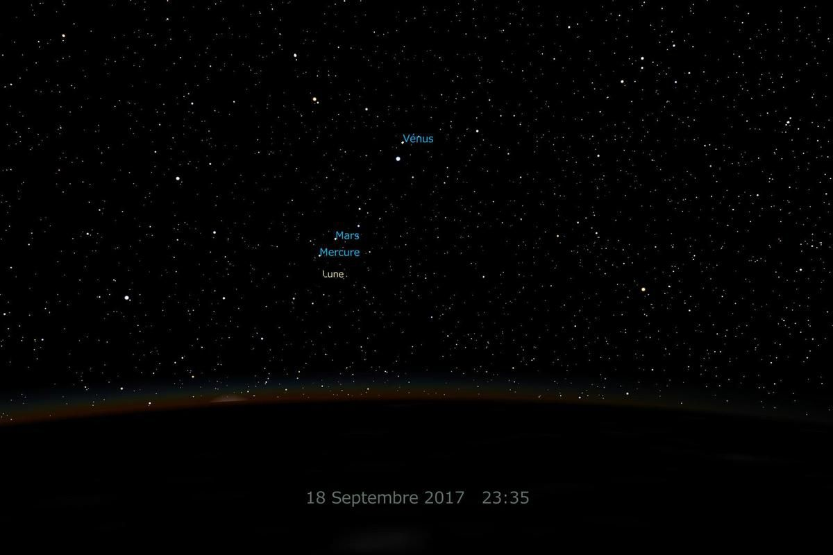 Mitaka - ISS - 18 septembre 2017 - Simulation - Venus - Regulus - Mars - Mercure - Lune - Moon - Alignment - Conjonction - Moscow - Paolo Nespoli - Moscou