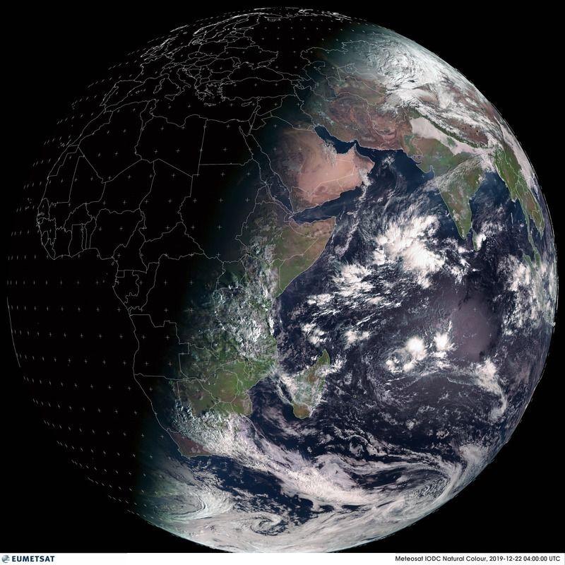 Solstice hiver - 22 décembre 2019 - Meteosat IODC - Saison - observation de la Terre