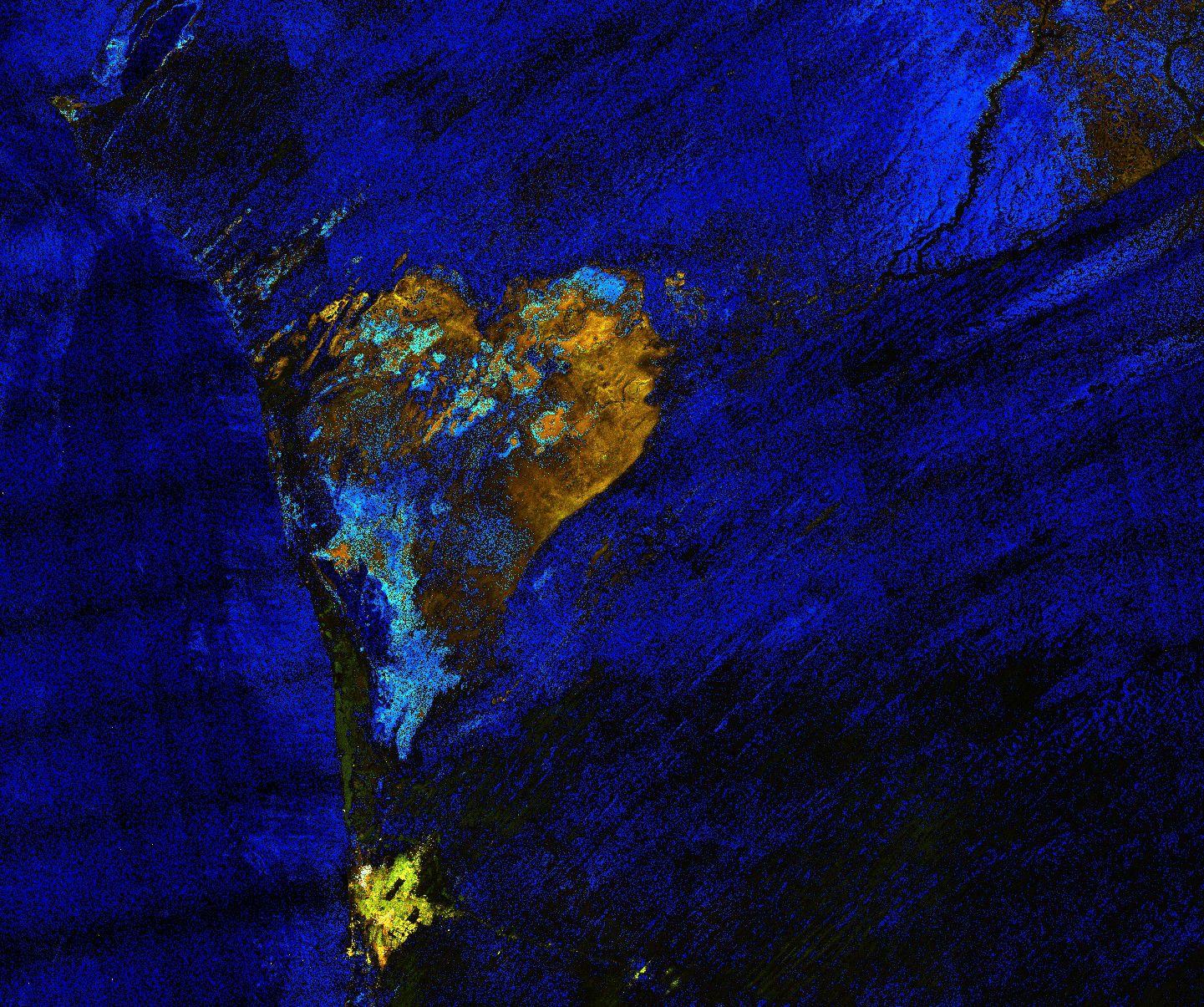 Saint-Valentin - forme de coeur vue de l'espace - satellite - heart - observation de la Terre - Sentinel-1 - Copernicus - Mauritanie - Sebkhet Te-n-Dghamcha - Valentine's day