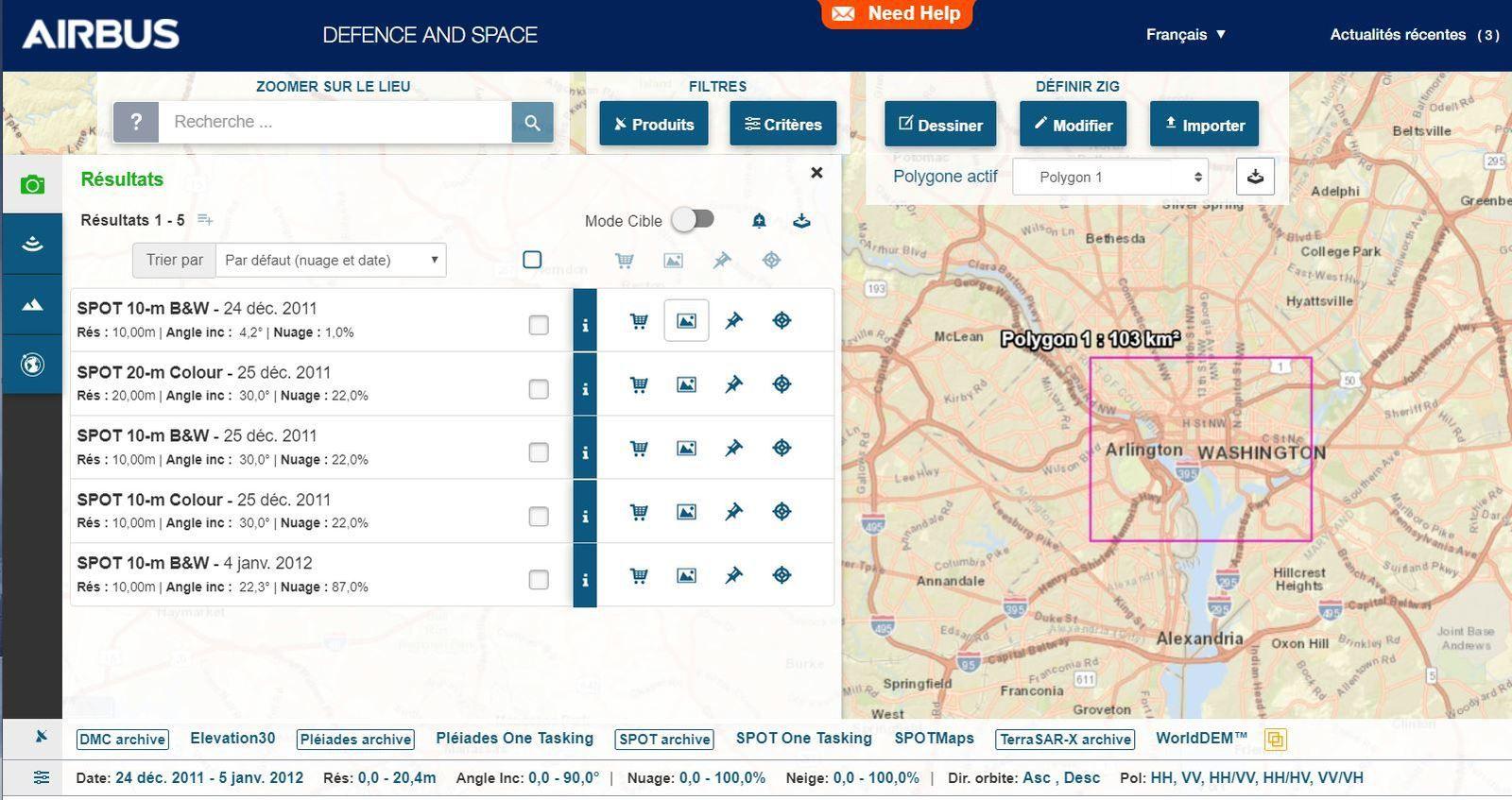 Airbus Defence and Space - Catalogue Geostore - Washington DC - janvier 2012 - SPOT 5 - Pléiades - Quiz image juin 2020