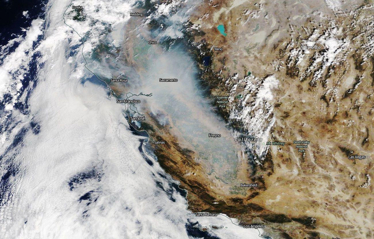 CaliforniaFires - LNUComplexFire - CZUComplexFire - SCUComplexFire - Incendies en Californie - Satellite - Wildfires - MODIS - Terra