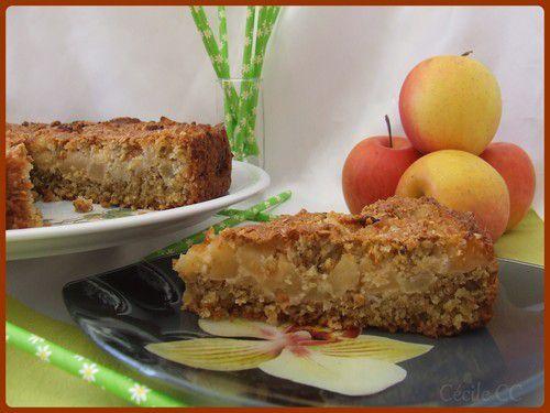 Gâteau aux pommes et flocons d'avoine...