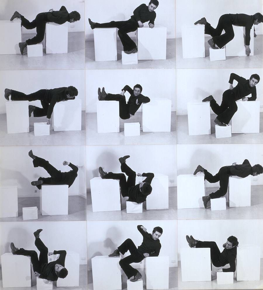 Bruce McLean Pose - Work for Plinths 3 1971 Photographs on board. Purchased 1981© Bruce McLean