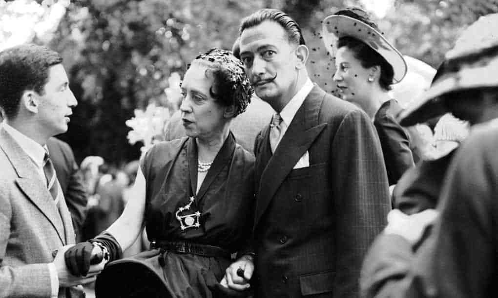 Elsa Schiaparelli with Salvador Dalí, in Neuilly,France - 1950 / Photograph: Sipa Press -REX
