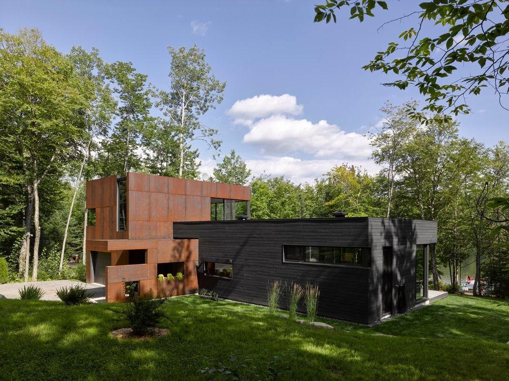 HOUSE AT CHARLEBOIS LAKE BY PAUL BERNIER ARCHITECTE IN SAINTE MARGUERITE DU LAC MASSON, CANADA