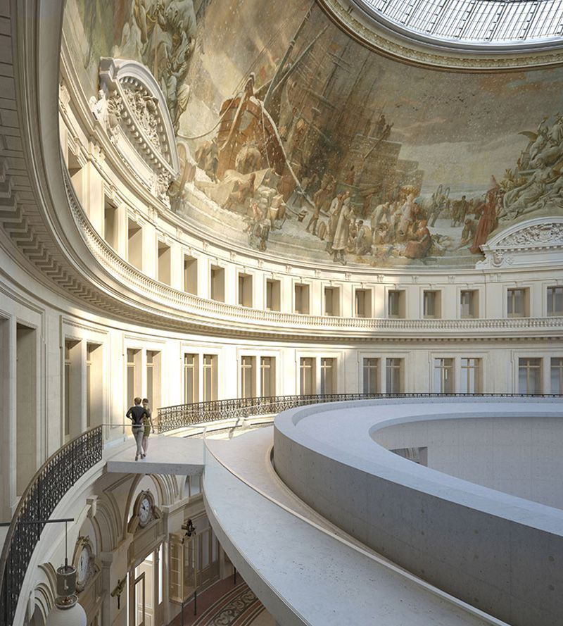 Model and rendering of the Bourse de Commerce showing the cylinder conceived by Tadao Ando and nestled within the atrium.