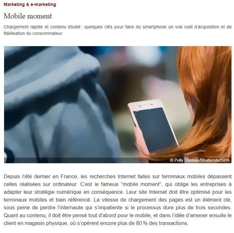 Dans les médias (35) : Le Nouvel Economiste : Mobile Moment