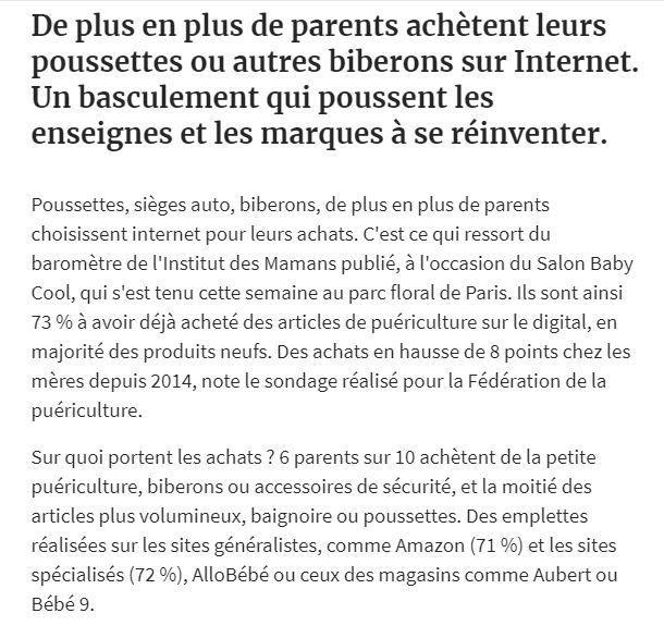 Dans les médias (56) : Les Echos : le digital bouscule le marché du bébé