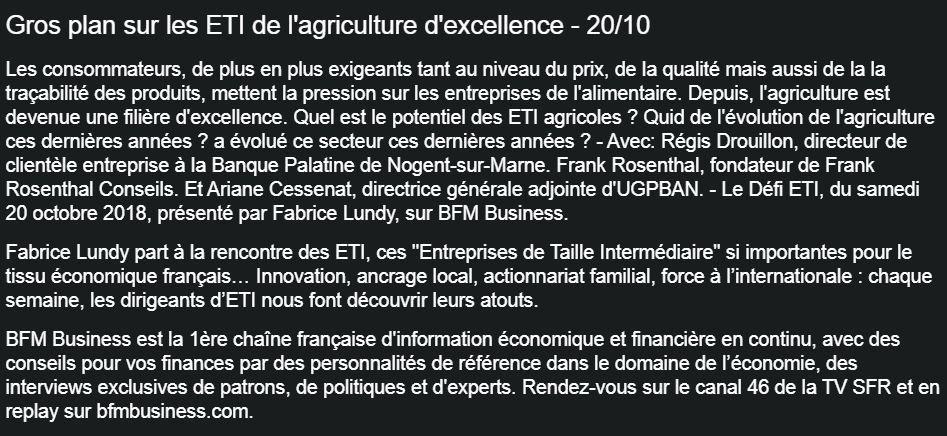 Dans les médias (59) : BFM Business : Le Défi ETI : Gros plan sur les ETI de l'agriculture d'excellence
