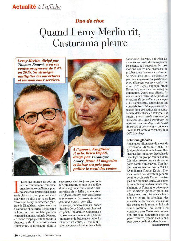 Dans les médias (107) : Challenges : quand Leroy Merlin rit, Castorama pleure