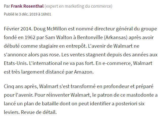 Dans les médias (146) : Les Echos.fr (Tribune) : Comment Walmart s'est réinventé