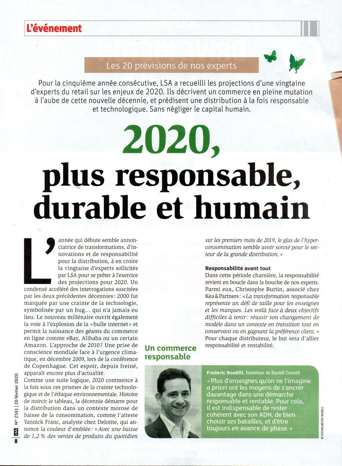 Dans les médias (156) : LSA : prévisions d'experts : 2020 plus responsable, durable et humain