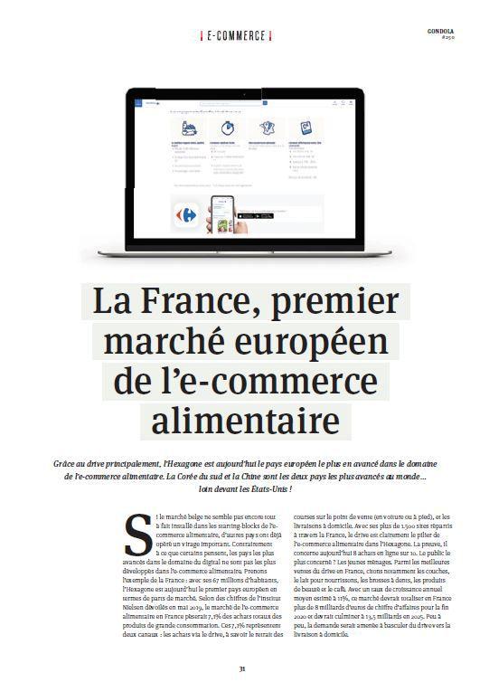 Dans les médias (163) : Gondola : La France, premier marché européen de l'e-commerce alimentaire