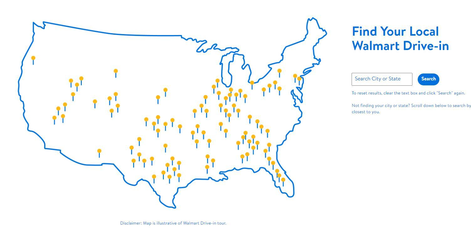 La carte du Walmart drive-in Tour