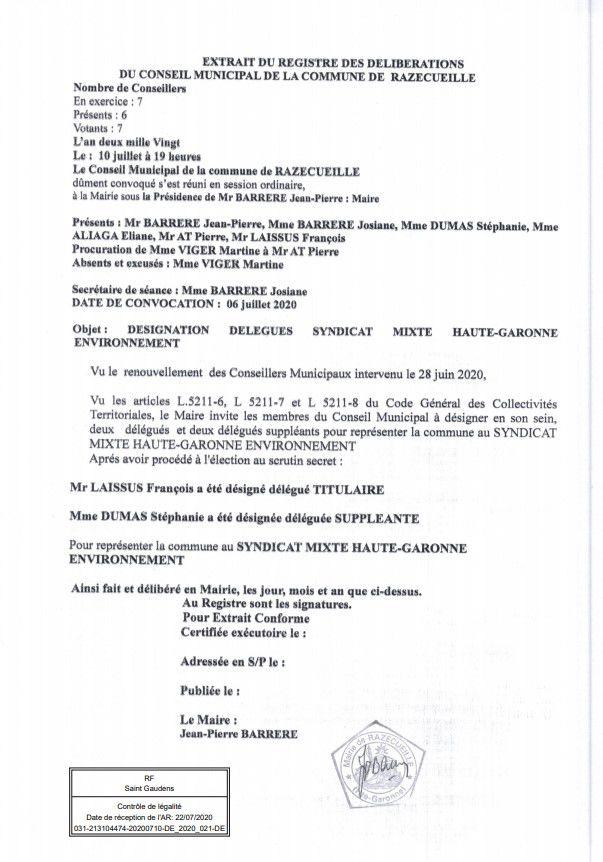 Razecueille délibération 10 juillet 2020 désignation des délégués du Syndicat Mixte Environnement