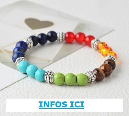 bracelet aux couleurs des 7 chakras sur la boutique de Miss Zen