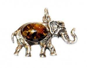 pendentifs pierres taillées Géofossiles éléphant ambre monture argent