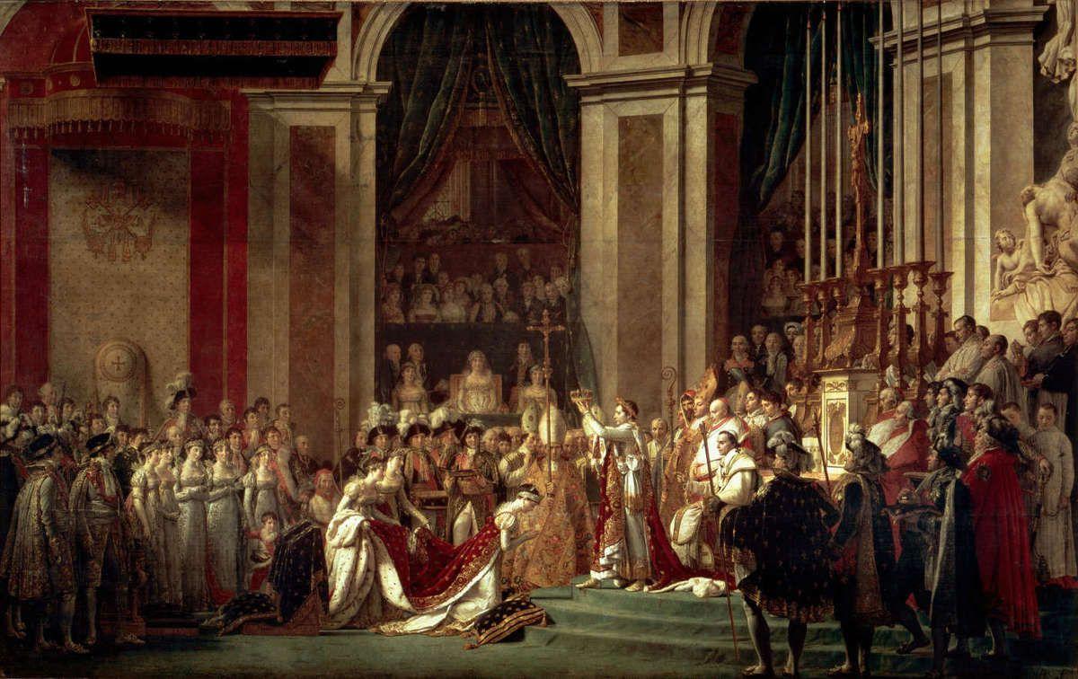 Sacre de Napoléon Ier et couronnement de l'impératrice Joséphine dans la cathédrale Notre-Dame de Paris, 2 décembre 1804, Huile sur toile de Jacques-Louis David (1748-1825), 9.7 x 6.2 m, 1808, musée du Louvre, Paris