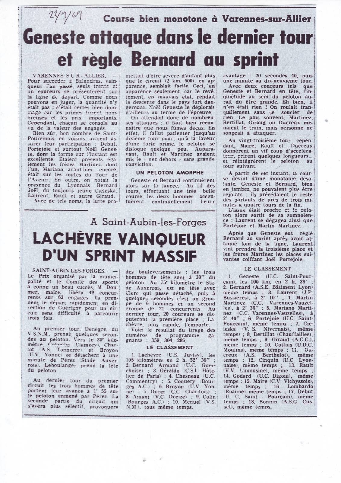 Il y a 50 ans ... 20 au 25 septembre 1969