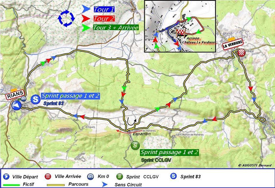 Tracé de l'épreuve du dimanche 16/02 : Rians - La Verdière (126 km)