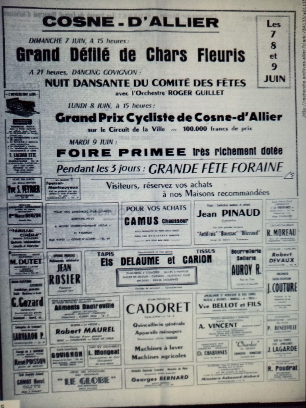 Fête patronale de Cosne-d'Allier 1959