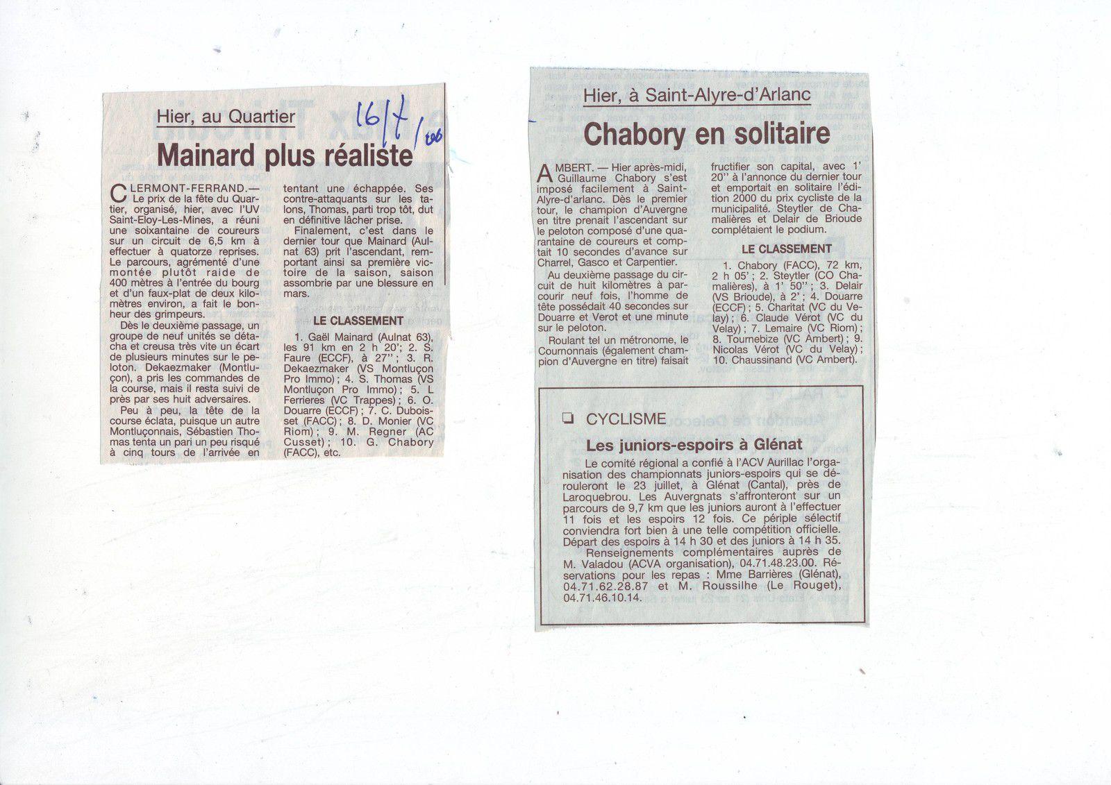 Il y a 20 ans ...15 et 16 juillet 2000