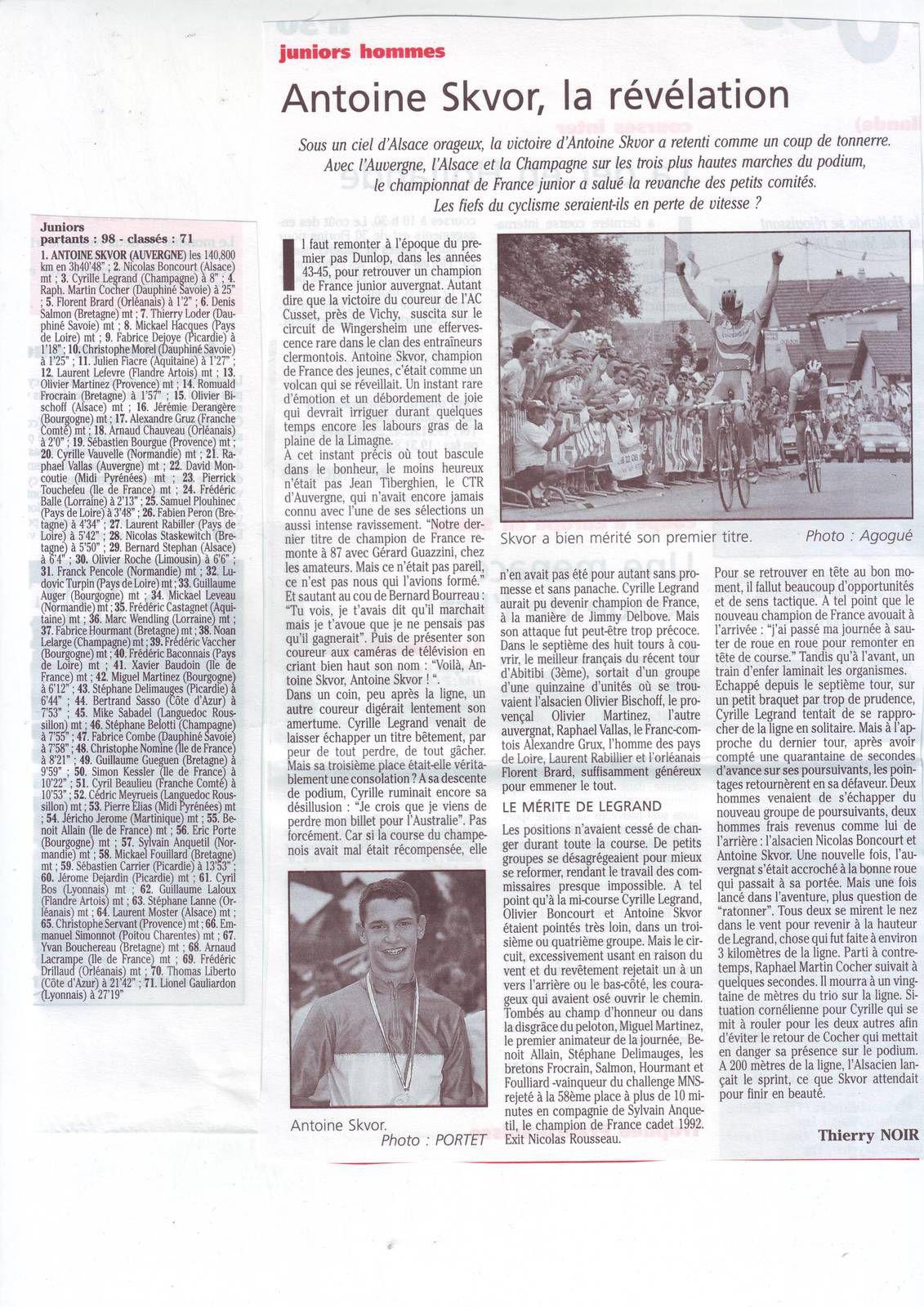 La France Cycliste N° 1931 du 13/09/1993
