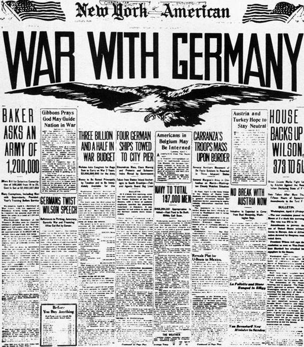 6 Avril 1917 : les Etats-Unis entrent en guerre contre l'Allemagne
