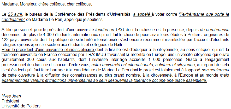 Mail du Président Yves Jean, 28 Avril 2017.