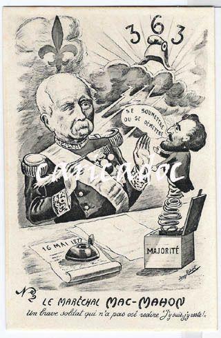 Mac Mahon face à Gambetta (1877). Illustration prise sur Caricadoc.com
