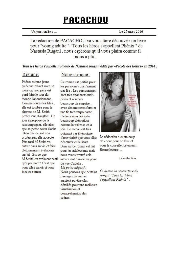Article de critique littéraire - Le Bateau Livre
