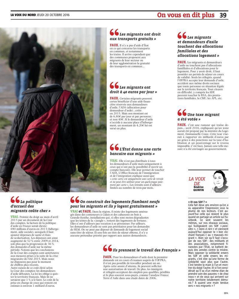 Intox sur les migrants : la Voix du Nord remet les pendules à l'heure